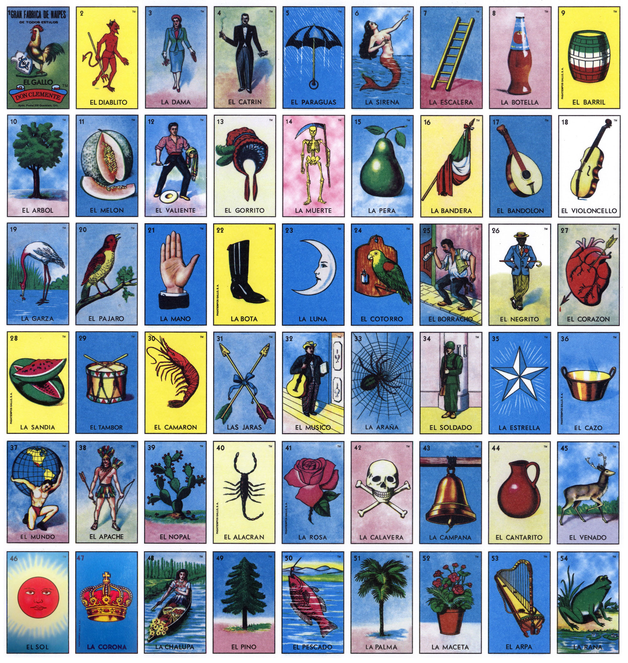 The classic Loteria cards. TM & © Don Clemente / Pasatiempos Gallo, Inc.